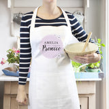 Personalised Lilac Lace 'Will Cook for Prosecco' White Apron - Personalised Gift From Personally Presented