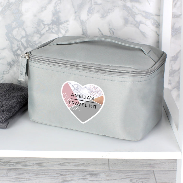 Personalised Geometric Grey Make Up Wash Bag - Personalised Gift From Personally Presented