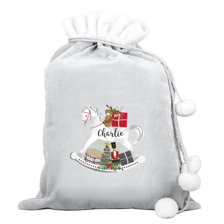Personalised Rocking Horse Luxury Silver Pom Pom Sack