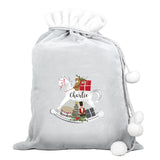 Personalised Rocking Horse Luxury Silver Pom Pom Sack - Personalised Gift From Personally Presented