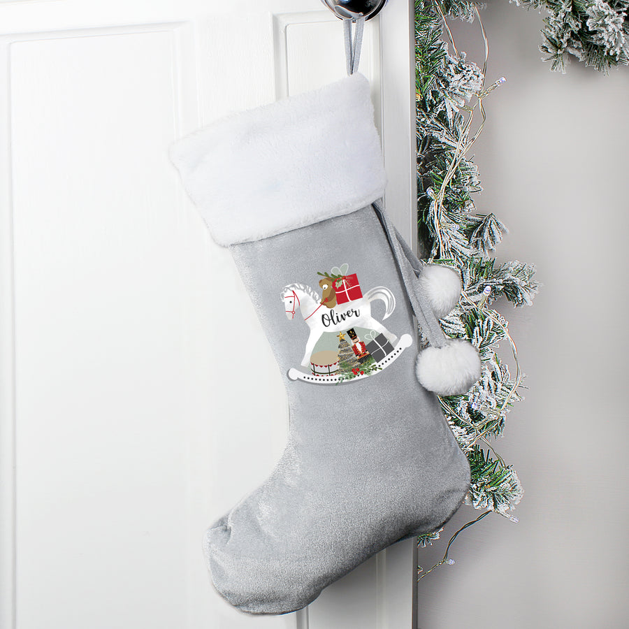 Personalised Rocking Horse Luxury Silver Grey Stocking - Personalised Gift From Personally Presented