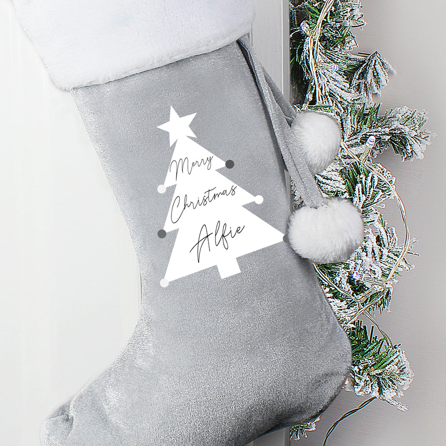 Personalised Christmas Tree Luxury Silver Grey Stocking - Personalised Gift From Personally Presented