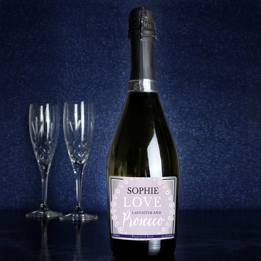 Personalised Lilac Lace Bottle of Prosecco - Personalised Gift From Personally Presented