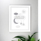 Personalised New Baby Moon & Stars White Framed Nursery Print - Personalised Gift From Personally Presented