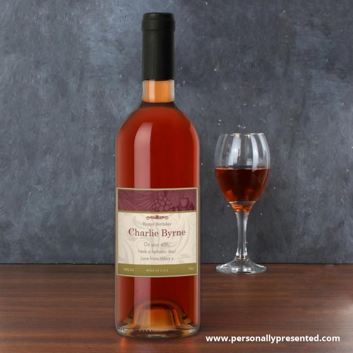 Personalised Traditional Rose Wine - Personalised Gift From Personally Presented