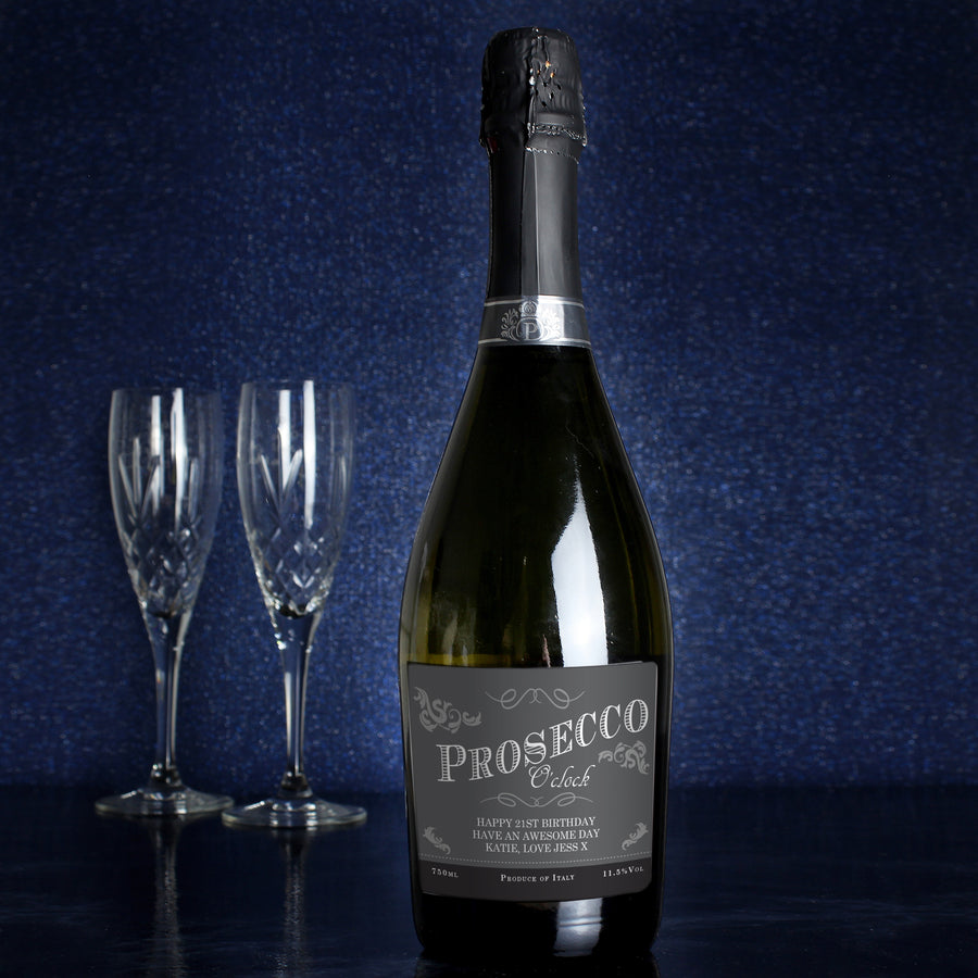 Personalised 'Prosecco O'Clock' Bottle of Prosecco - Personalised Gift From Personally Presented