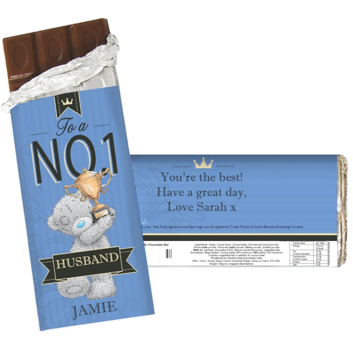 Personalised Me to You No 1 Milk Chocolate Bar - Personalised Gift From Personally Presented