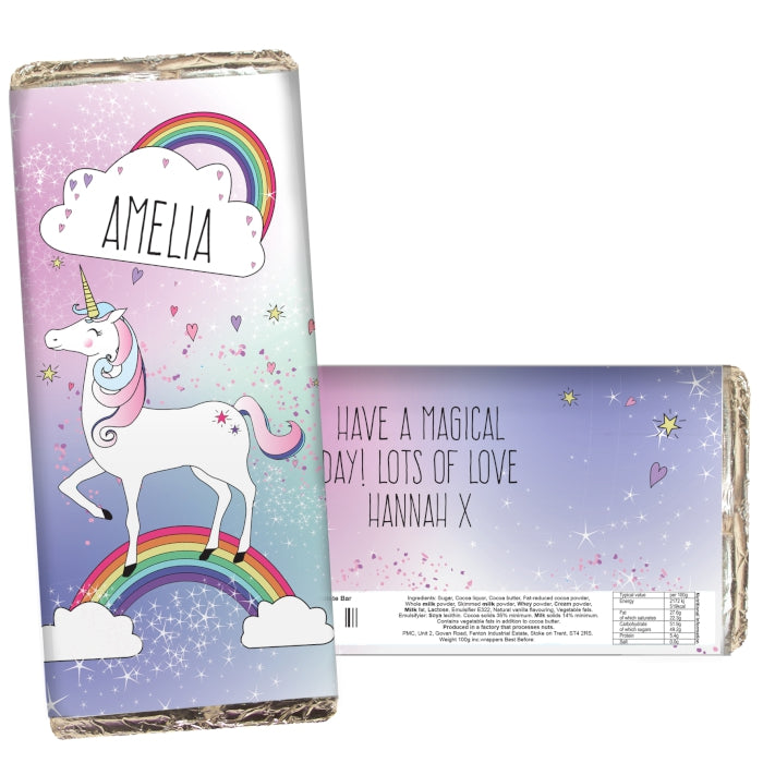 Personalised Unicorn Milk Chocolate Bar - Personalised Gift From Personally Presented