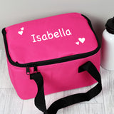 Personalised White Hearts Pink Lunch Bag - Personalised Gift From Personally Presented