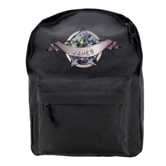 Personalised Army Camo Black Backpack