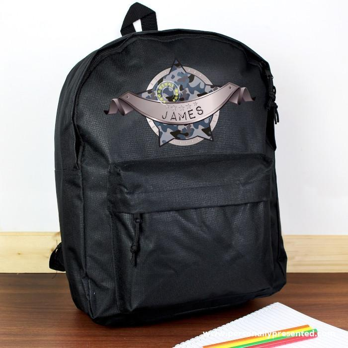 Personalised Army Camo Black Backpack - Personalised Gift From Personally Presented