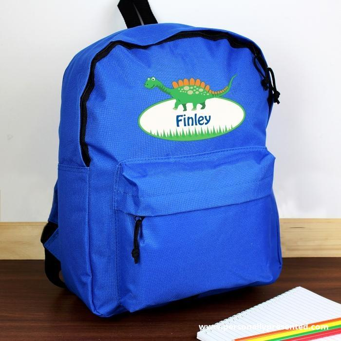 Personalised Dinosaur Blue Backpack - Personalised Gift From Personally Presented