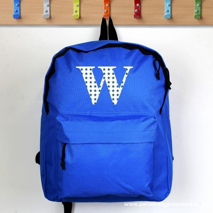 Personalised Star Initial Blue Backpack - Personalised Gift From Personally Presented