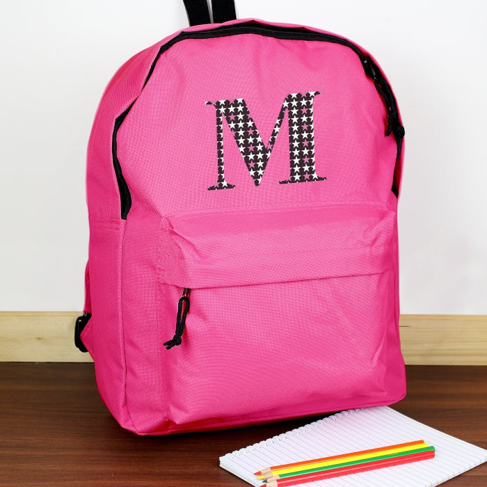 Personalised Star Initial Pink Backpack - Personalised Gift From Personally Presented