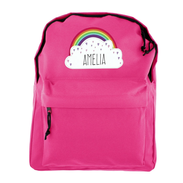 Personalised Rainbow Pink Backpack