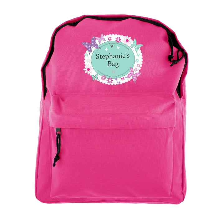 Personalised Butterfly Pink Backpack - Personalised Gift From Personally Presented