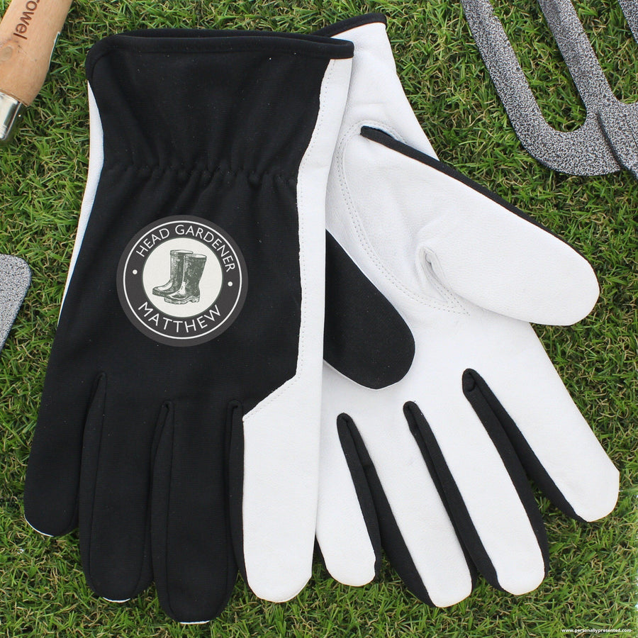 Personalised Head Gardener Large Black Gardening Gloves - Personalised Gift From Personally Presented