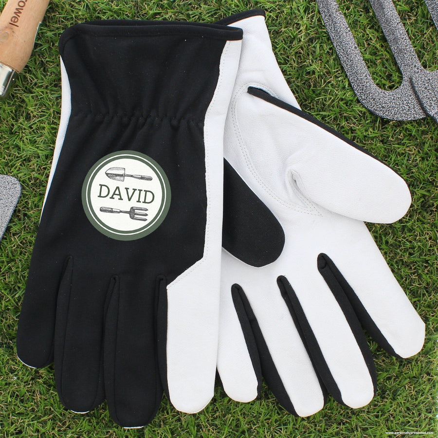 Personalised Garden Tools Large Black Gardening Gloves - Personalised Gift From Personally Presented