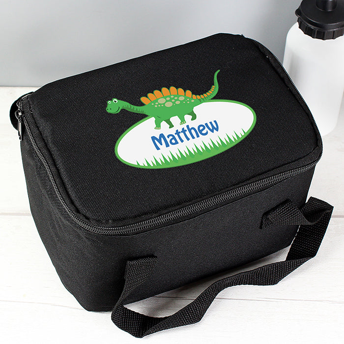Personalised Dinosaur Black Lunch Bag - Personalised Gift From Personally Presented