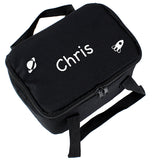 Personalised White Rocket Black Lunch Bag - Personalised Gift From Personally Presented