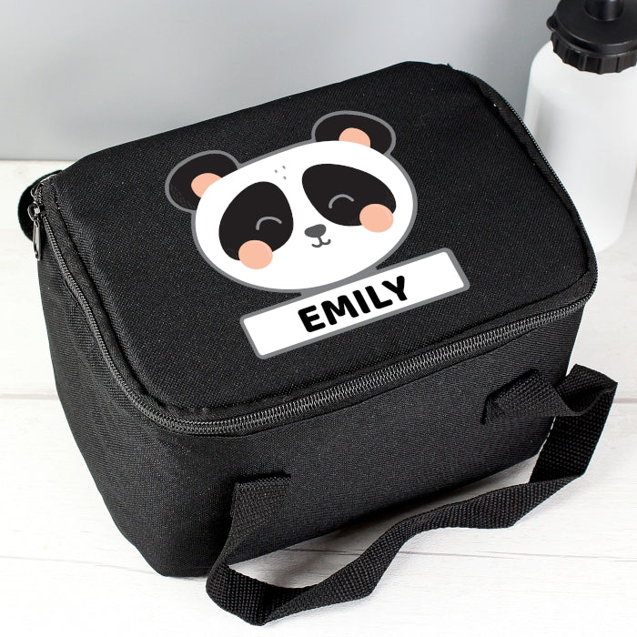 Personalised Panda Black Lunch Bag - Personalised Gift From Personally Presented