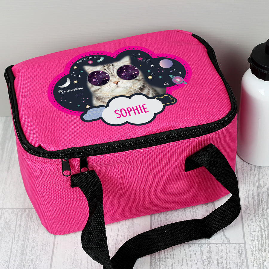 Personalised Rachael Hale Space Cat Pink Lunch Bag - Personalised Gift From Personally Presented