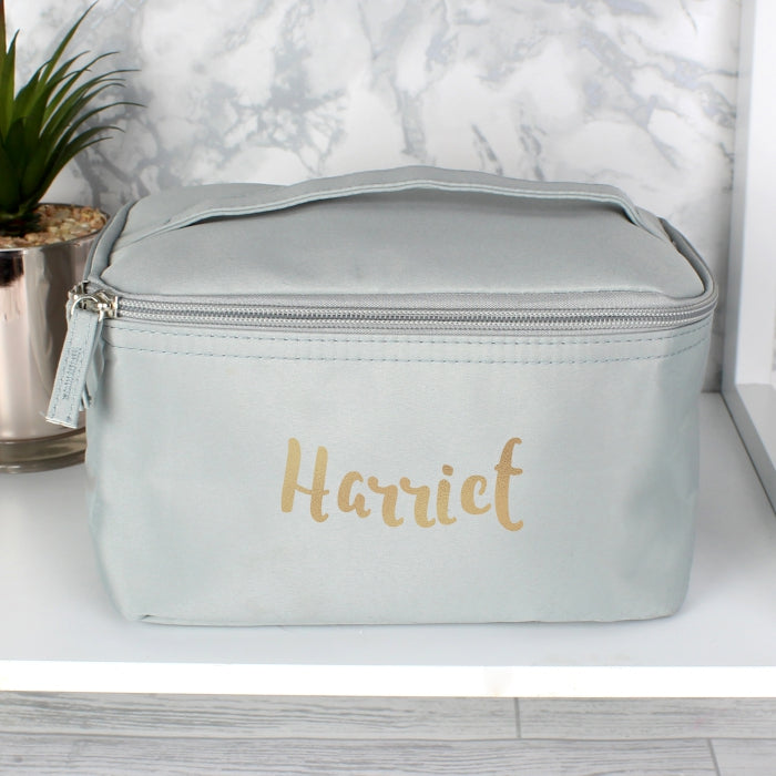 Personalised Gold Name Grey Make Up Wash Bag - Personalised Gift From Personally Presented