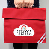 Personalised Rainbow Red Book Bag