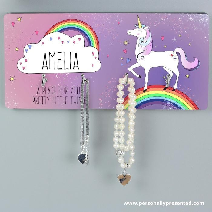 Personalised Unicorn Jewellery Hooks - Personalised Gift From Personally Presented