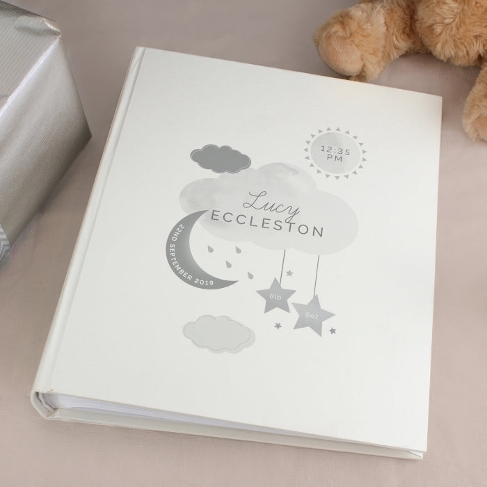Personalised New Baby Moon & Stars Album with Sleeves - Personalised Gift From Personally Presented