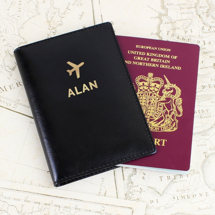 Personalised Gold Name Black Passport Holder - Personalised Gift From Personally Presented