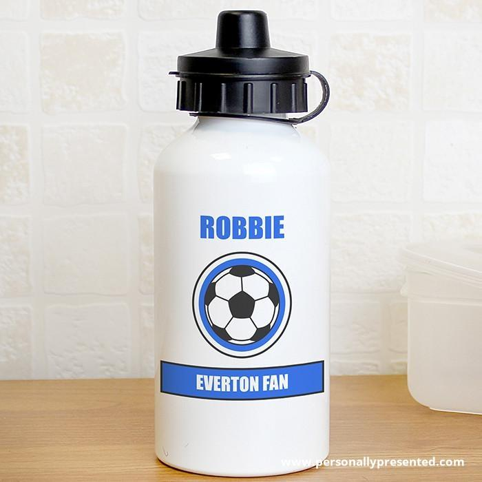 Personalised Dark Blue Football Fan Drinks Bottle - Personalised Gift From Personally Presented