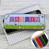 Personalised Garden Bunting Pencil Tin with Pencil Crayons - Personalised Gift From Personally Presented