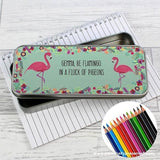 Personalised Flamingo Pencil Tin with Pencil Crayons - Personalised Gift From Personally Presented
