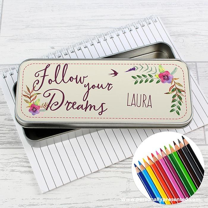Personalised Dreams Pencil Tin with Pencil Crayons - Personalised Gift From Personally Presented