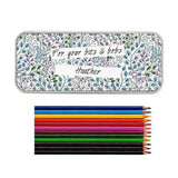 Personalised Botanical Pencil Tin with Pencil Crayons - Personalised Gift From Personally Presented