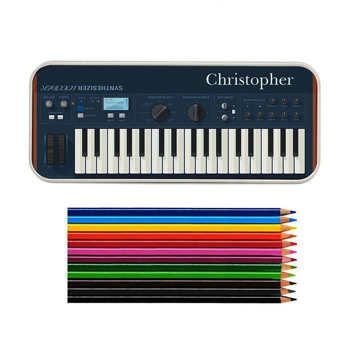 Personalised Keyboard Pencil Tin with Pencil Crayons - Personalised Gift From Personally Presented