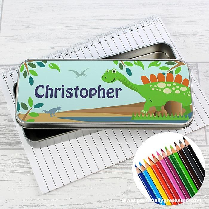 Personalised Dinosaur Pencil Tin with Pencil Crayons - Personalised Gift From Personally Presented