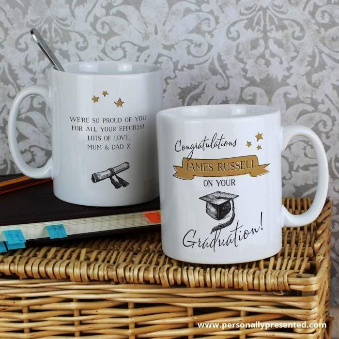 Personalised Gold Star Graduation Mug - Personalised Gift From Personally Presented