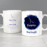 Personalised Cancer Zodiac Star Sign Mug (June 21st - July 22nd) - Personalised Gift From Personally Presented