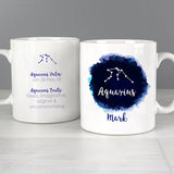 Personalised Aquarius Zodiac Star Sign Mug (January 20th - February 18th) - Personalised Gift From Personally Presented