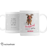 Personalised Rachael Hale Christmas Dachshund Through the Snow Mug - Personalised Gift From Personally Presented