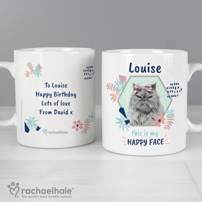 Personalised Rachael Hale 'Happy Face' Cat Mug - Personalised Gift From Personally Presented
