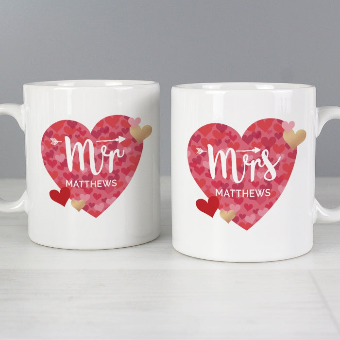 Personalised Mr and Mrs Valentine's/Wedding Day Confetti Hearts Mug Set