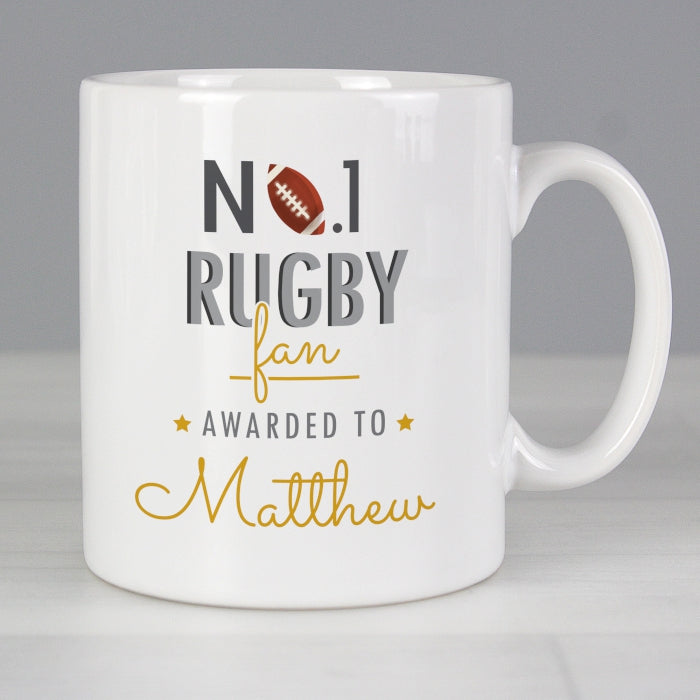 Personalised No.1 Rugby Fan Mug - Personalised Gift From Personally Presented