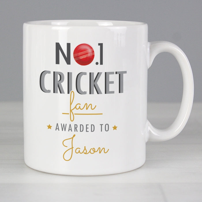 Personalised No.1 Cricket Fan Mug - Personalised Gift From Personally Presented