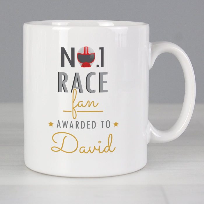 Personalised No.1 Race Fan Mug - Personalised Gift From Personally Presented