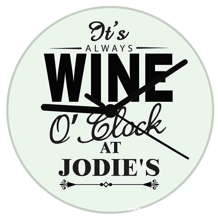 Personalised Wine O'Clock Clock - Personalised Gift From Personally Presented