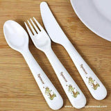 Personalised Hessian Giraffe 3 Piece Plastic Cutlery Set - Personalised Gift From Personally Presented