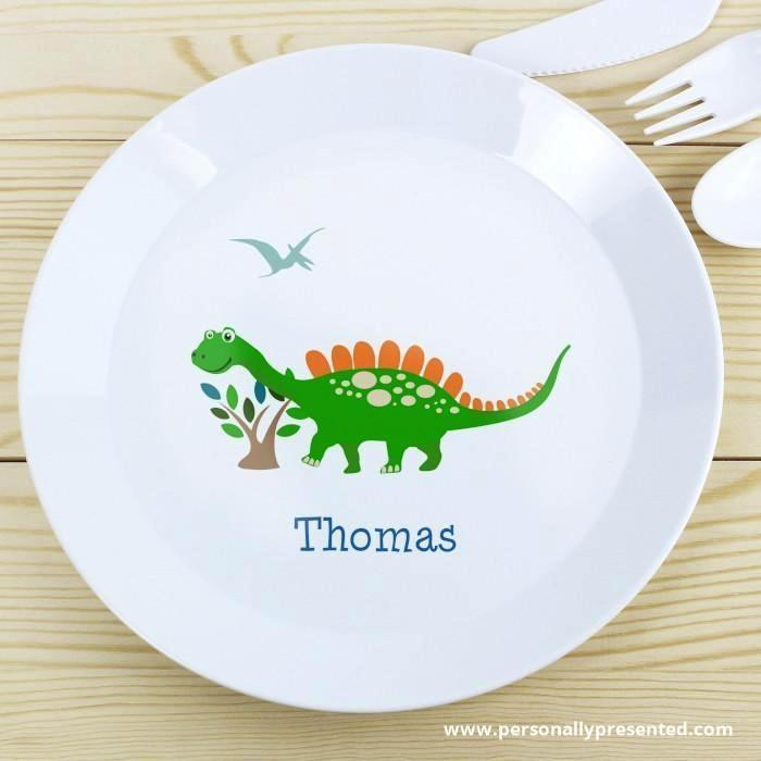 Personalised Dinosaur Plastic Plate - Personalised Gift From Personally Presented